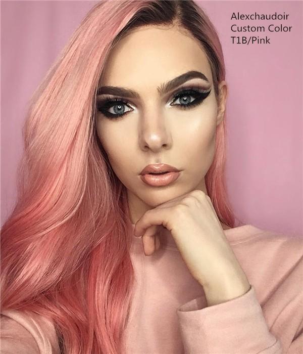 pink human hair wigs